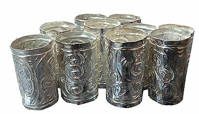 Silver Plated Engraved Embossed Walking Stick Cane Collars Qty 10