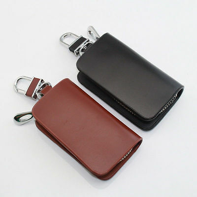 Leather Car Logo Key Holder Case Bag Cover Wallet Solid Clutch Coin Purse