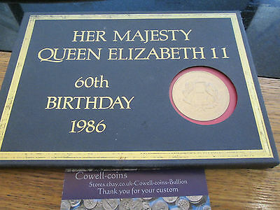1986 QUEEN ELIZABETH II 60th BIRTHDAY COLLECTION OF 9 COINS £2 £1 50P ECT CASED