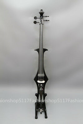 New 4/4 BLACK CELLO-Solidwood Electric Silent CELLO + Bow FREE  V1