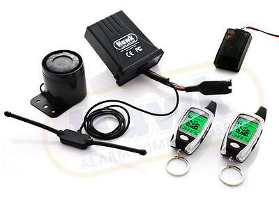 Hawk Lcd 2 Way Pager Motorcycle Alarm & Immobiliser Remote Start With Tiltsensor