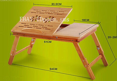 NEW PLANE Laptop table Notebook Desk Natural Bamboo Foldable Folding Bed Table