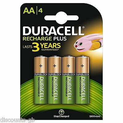4 x Duracell AA Rechargeable Batteries - 1300 mAh PRE/ STAY CHARGE - HR6 4 Pack