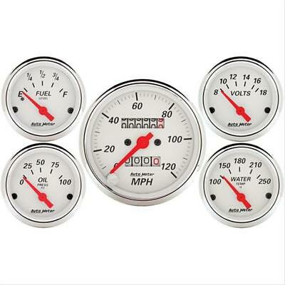Autometer 1300 Gauge Kit Arctic White Speedometer Water Temp Fuel Level Volt Oil
