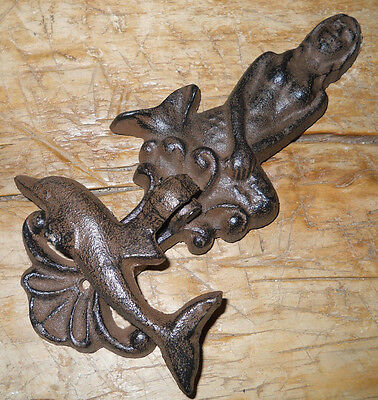 Cast Iron Antique Style Nautical MERMAID / DOLPHIN Door Knocker Brown Finish