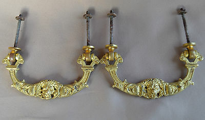 French Pair of Antique Empire Bronze Drawer Pull Handle - Lion Design