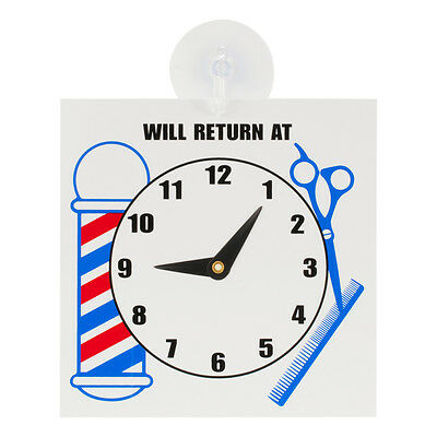 """ScalpMaster Barber Shop """"Will Return At"""" Door Sign Clock With Suction Cup"""