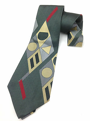 Vintage Necktie 5'' Wide Neck Tie Kipper Jacquard Woven Abstract Geometry Grey