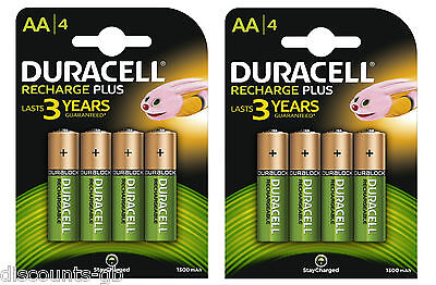 8 x Duracell AA Rechargeable Batteries - 1300 mAh PRE/ STAY CHARGE - HR6 4 Pack