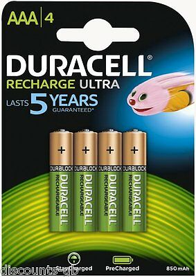 4 x Duracell AAA Ultra Rechargeable Accu HR03 850 mAh AAA Batteries - Pack of 4