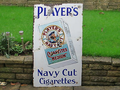 "1940s Original HEAVY ENAMEL ""PLAYER'S NAVY CUT"" CIGARETTE SIGN  PLAYERS TOBACCO"