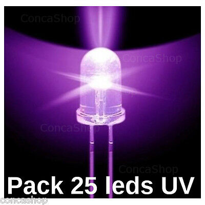 25 X DIODO LED ULTRAVIOLETA Ø5mm UV 395 ~ 400nm