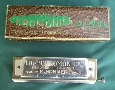 Antique M Hohner Chromonica Harmonica  Key Of G + Original Box Germany