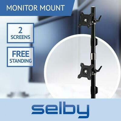 "Up to 24"" 8kg Dual 2 LCD Desktop Stand Pole Computer Monitor VESA Mount Bracket"