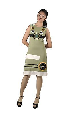 Women's Sleeveless Dress with Multicolored Circle Patch Design