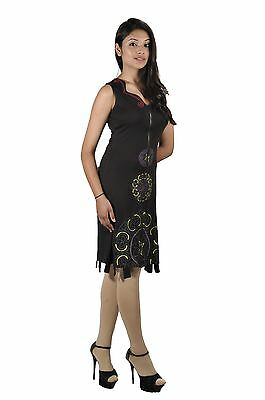 Ladies Summer Black Sleeveless Dress with Zip Closure & Colorful Pattern Print
