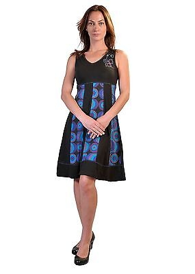 Ladies Summer Sleeveless V-Neck Dress with Bubble Print and Embroidery