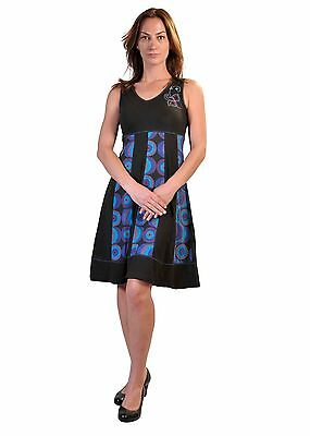 Women Summer Sleeveless V-Neck Dress With Bubble Print & Embroidery