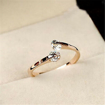 New Fashion Women Lady Rose Gold Plated Crystal Bridal Engagement Ring US Size 7
