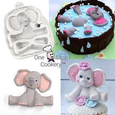 Katy Sue Sugar Buttons BABY ELEPHANT Silicone Mould Craft Jungle Zoo