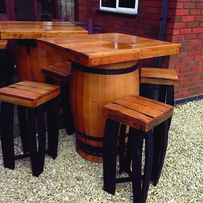 Solid Oak Whisky Barrel Square Top Bar Table and 4 Stools Set