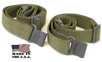 (2ea) Rifle Slings 2-Point OD Green Cotton Web for M1 Garand Made in the USA!