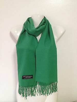 100% Cashmere Scarf Solid Design Color Irish Green Super Soft Made In Scotland