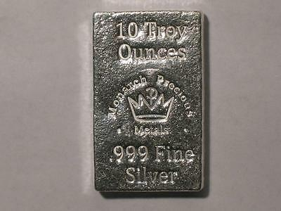 10 oz Silver Stacker Bar - Monarch Metals MPM - Ten Ounce 999