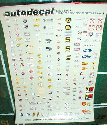 98 Pair Sponsor Decals Slot Cars + Plastic Models 1977 Vintage 1/24-1/16 scale