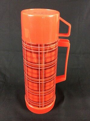 Vintage Original Aladdin Plaid Thermos with Top And Cup 1 Pint