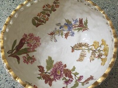19th Century Royal Worcester Hand Painted Gilt Reticulated Open Edge Bowl Floral