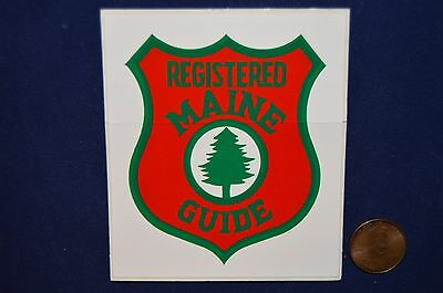 "Two 2 Vintage Registered Maine Guide (Park Ranger) Sticker Obsolete 3 3/8"" X 3"""