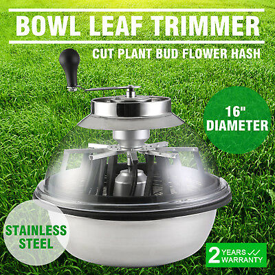 "16"" Bowl Hydroponics Leaf Trimmer Cutter Heavy Duty Stainless Steel W/ Blades"