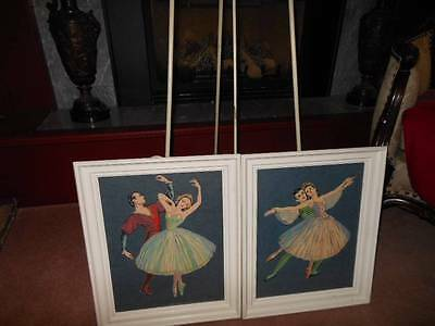 Vintage Wonderful Pair of Man & Woman Ballet Pictures---Signed too!