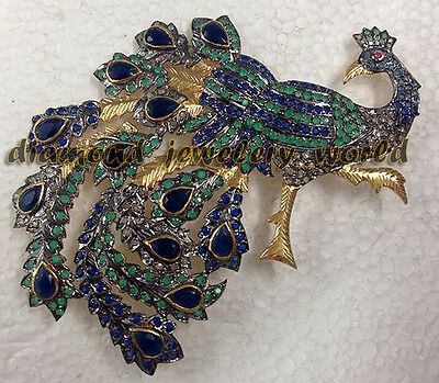 Victorian Antique 1.58ct Rose Cut Diamond Gemstone Silver Jewelry Peacock Brooch