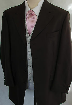 Brown Wool Herringbone Prince Edward Jacket Coat Formal Wedding Morning Prom