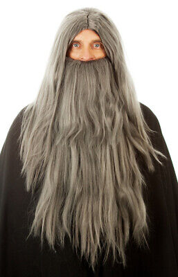 Long Grey Merlin Wizard Costume Wig & Beard , Fancy Dress Mens, Halloween