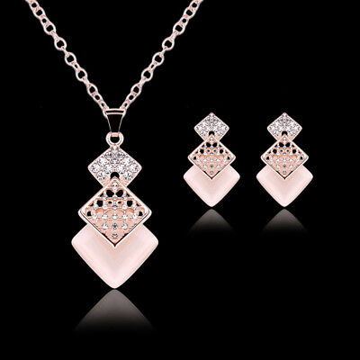 Rose Gold Plated Crystal Pink Opal Cube Drop Jewelry Sets Necklace+Earrings