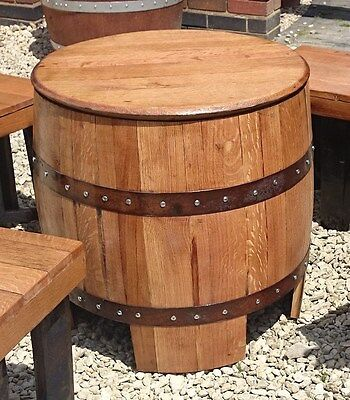 "Recycled Solid Oak Whisky Barrel ""DUNDEE"" Garden Table"