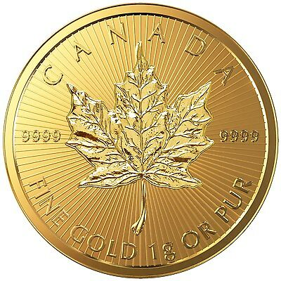 Maplegram 1g Maple Leaf Goldmünze 1 g Gold 9999 Maplegramm Maple gramm 2016