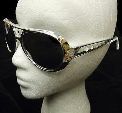 70s 70's 1970s Fancy Dress Rock Star Sunglasses Silver Elvis Glasses New