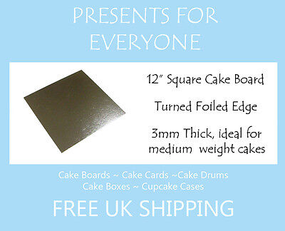"2 x 12"" Inch Square Silver 3mm Cake Board Weddings, Birthdays  FREE UK SHIPPING"
