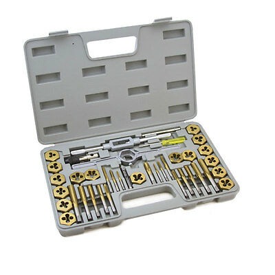 40 Pc SAE Hex Titanium Coated Tap and Die Set Heavy Duty Standard w/Case