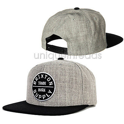 db354753a4f BRIXTON MEN S LIGHT Heather Grey   Black OATH III SNAP BACK Cap Hat ...