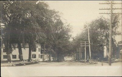 Kennebunk ME Road & Homes c1905 Real Photo Postcard