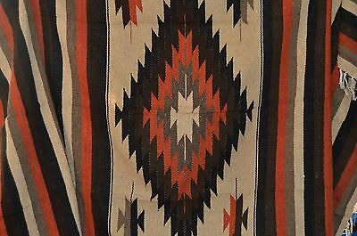 Mexican Blanket Tribal Diamond in Burnt Umbre PREMIUM XL Handwoven Throw Rug