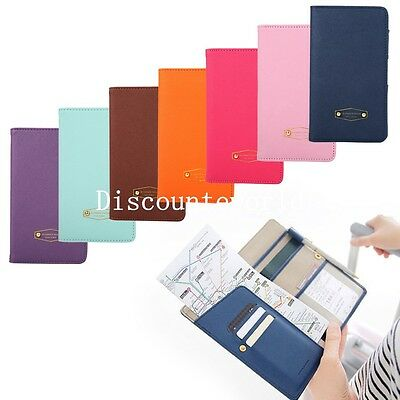New PU Leather Ticket Protector Case Travel Passport Holder Document Bag Wallet