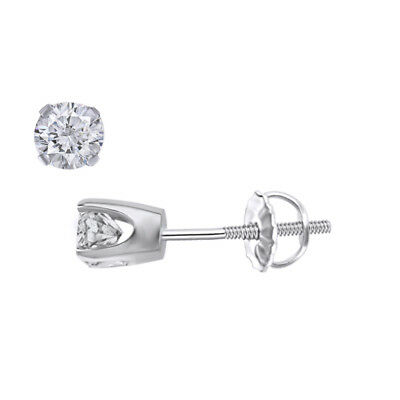 .20 Ct Stud Earrings Round Cut 14K White Gold With Screw Back pierced Deal