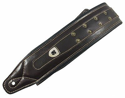 Genuine Leather Soft Padded Heavy Studded  Electric, Acoustic, Bass Guitar Strap