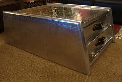 Large Coffee Table with Drawers - Riveted Aluminium - Aviation Aviator Style